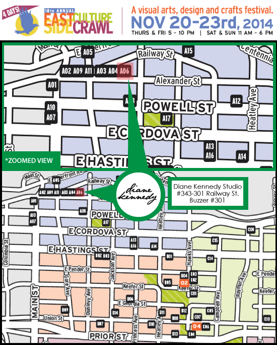 Eastside Culture Crawl Map | Diane Kennedy #301-454 Railway St. Vancouver