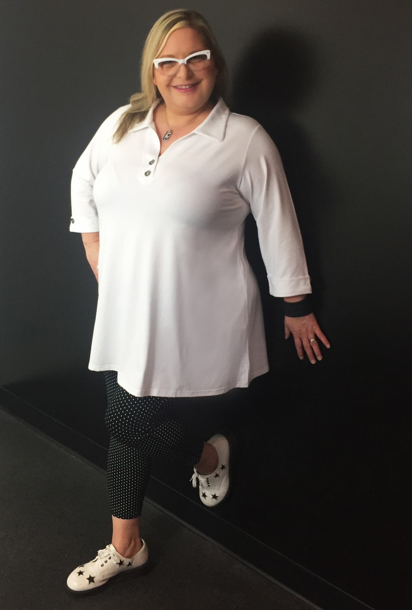 Diane Kennedy Soft Shirt with the Rejuvenate Legging in Black Polka Dots