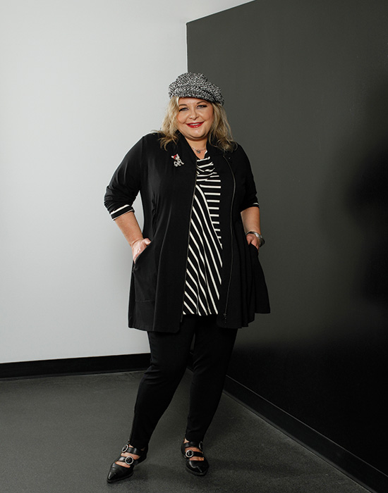 Barb chooses the Verve Zip Jacket in Black for her Fall wardrobe