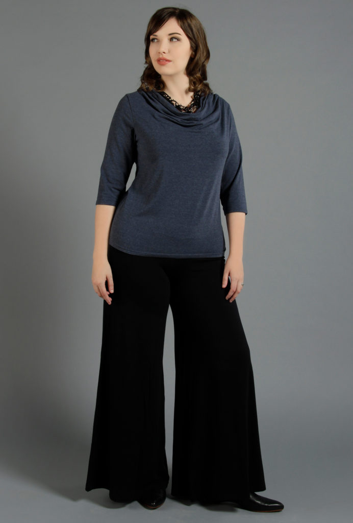 An outfit for a pear shape body, Diane Kennedy Midnight Cowl and Pacific Pant