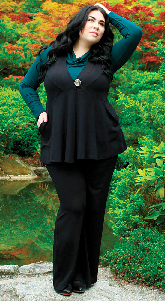An outfit for an hourglass shape body, Diane Kennedy Recharge Vest and Flex Pants