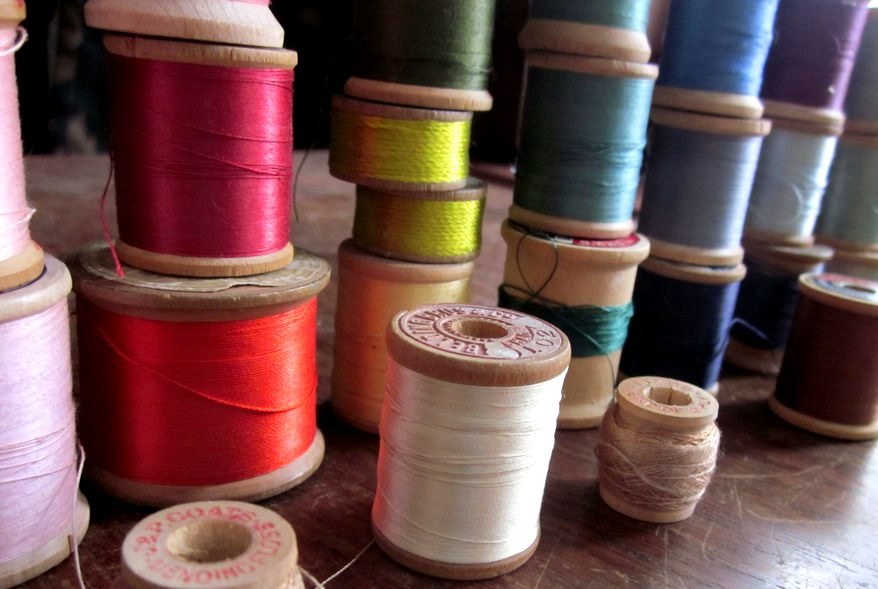Old spools of thread made from natural fibers (mercerised cotton)
