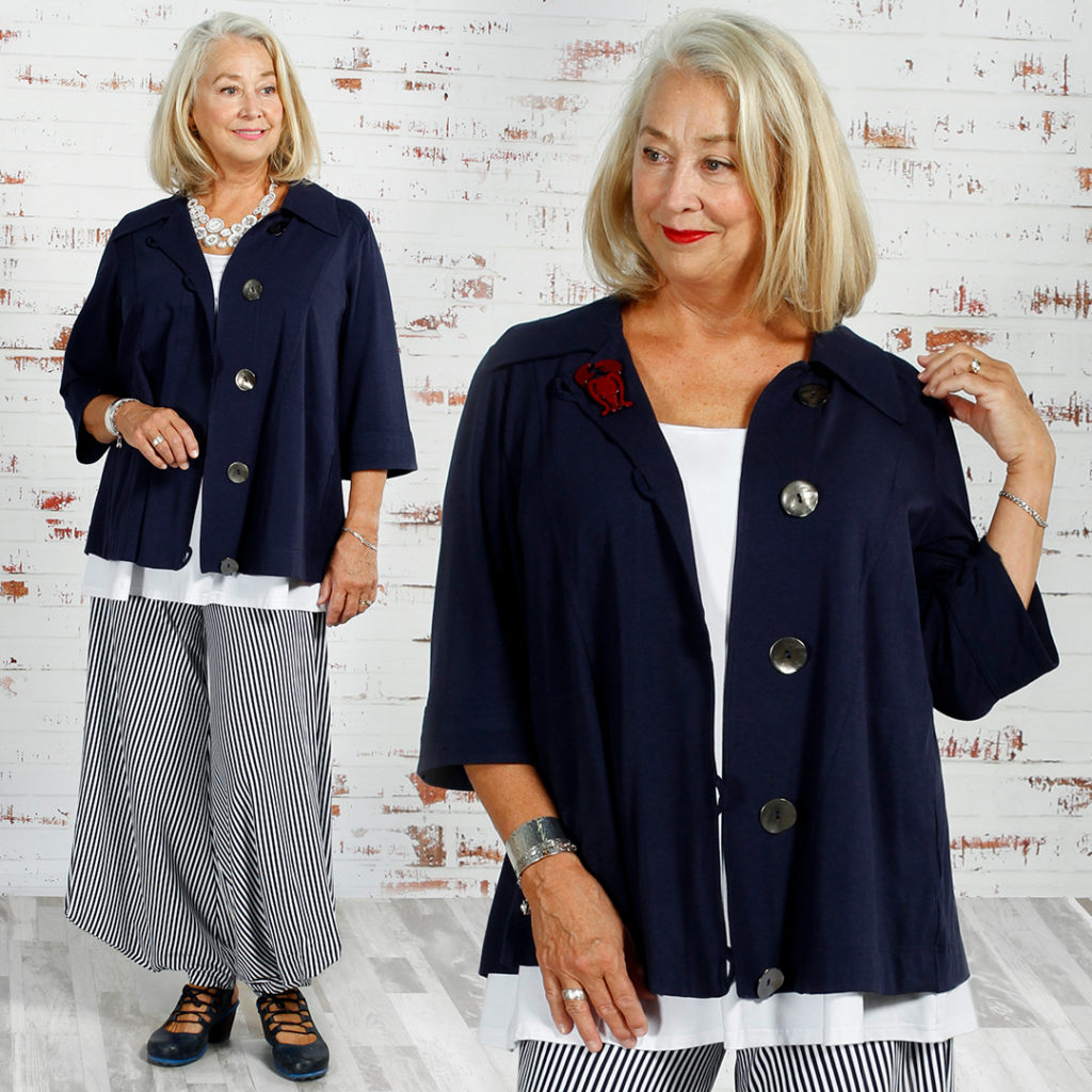 Diane Kennedy Style over 50. Viola wears the Diane Kennedy Box Office Jacket, Clever Cami and Smarty Pants