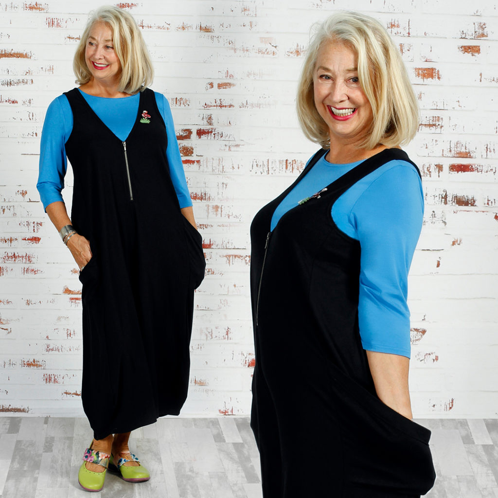 Diane Kennedy Style over 50. Viola wears the Diane Kennedy Screen Playsuit and Perfect Top.
