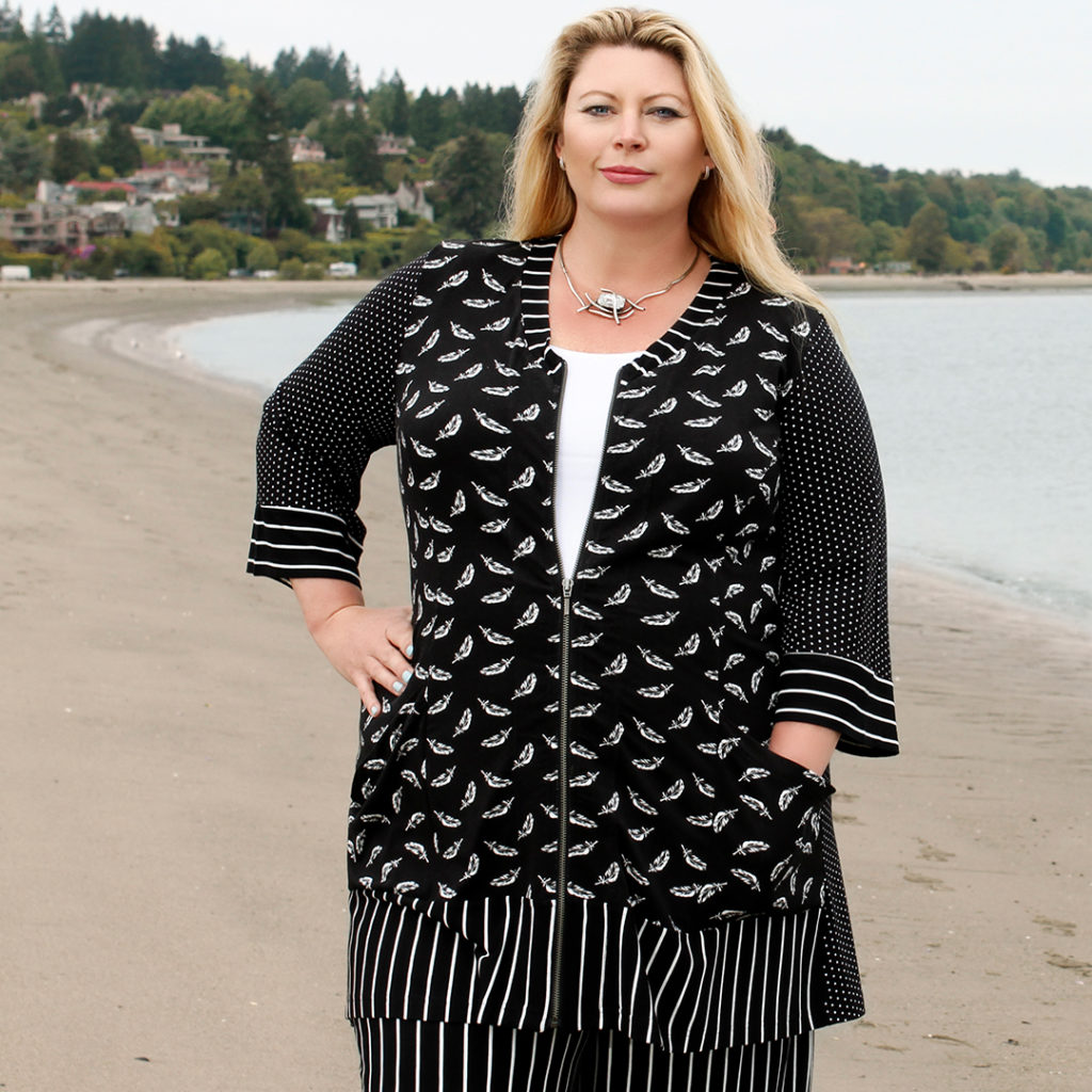 A close up shot of Diane Kennedy's Spring Fashion. It's the Film Noir Black & White bamboo Jacket